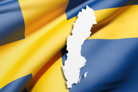 frontage: 3d rendering of Sweden map and flag on background. Stock Photo