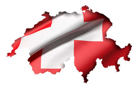 frontage: 3d rendering of Switzerland map and flag on white background.