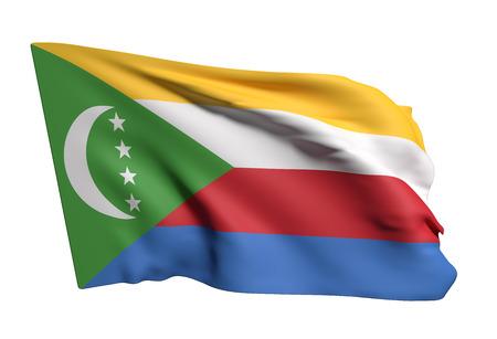 comoros: 3d rendering of Union of the Comoros flag waving Stock Photo