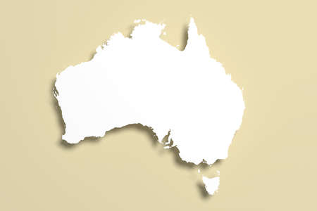 oceania: 3d rendering of an Australia map on brown background Stock Photo