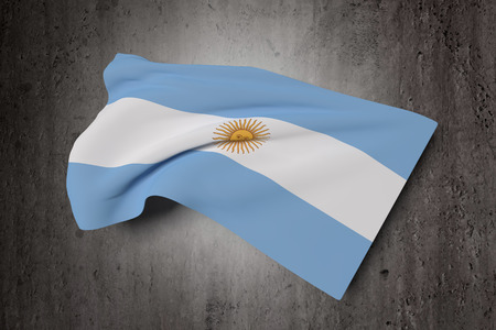 argentine: 3d rendering of Argentine Republic flag waving on a dirty background