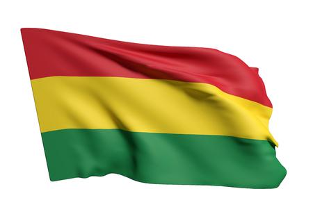 bandera de bolivia: Las 3D de la bandera de Bolivia que agita en un fondo blanco Foto de archivo