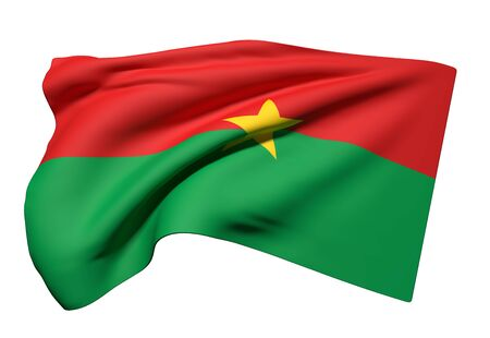 3d rendering of Burkina Faso flag waving on a white background