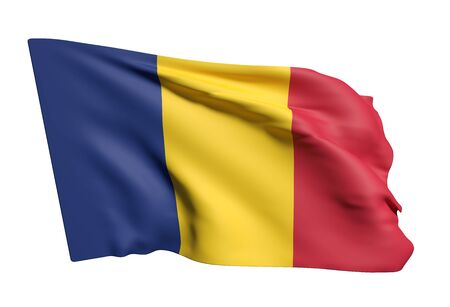 chad: 3d rendering of Republic of Chad flag waving