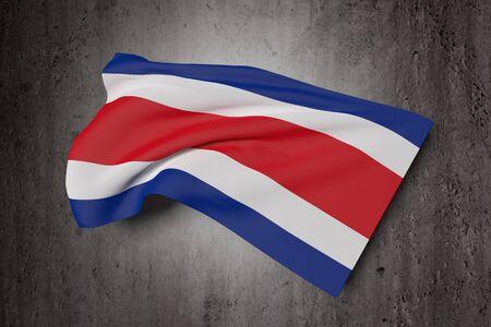 bandera de costa rica: representación 3D de la bandera de República de Costa Rica que agita en un fondo sucio