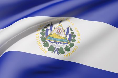 bandera de el salvador: representación 3D de la bandera de República de El Salvador ondeando Foto de archivo