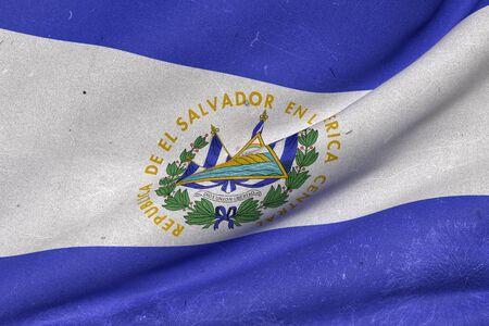 bandera de el salvador: 3d prestación de un viejo y sucio República de El Salvador bandera ondeando