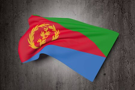 eritrea: 3d rendering of Eritrea flag waving on a dirty background Stock Photo