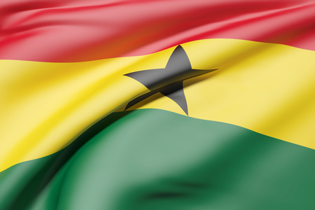 3d rendering of Republic of Ghana flag waving