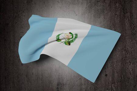 bandera de guatemala: Las 3D de la bandera de Guatemala que agita en un fondo sucio