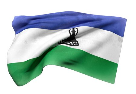 lesotho: 3d rendering of Kingdom of Lesotho flag waving