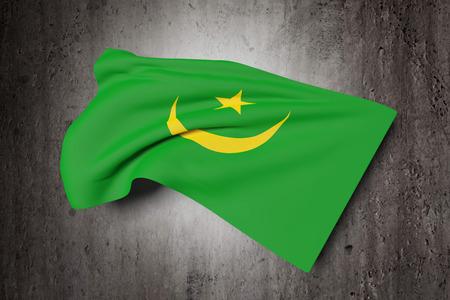 arabe: Las 3D de la bandera de Mauritania ondeando en un fondo sucio