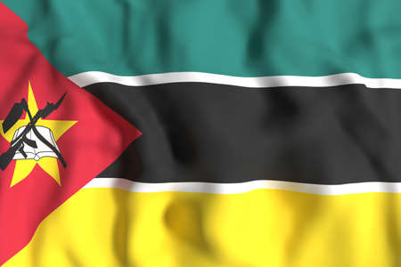 3d rendering of Republic of Mozambique flag waving