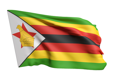 3d rendering of Republic of Zimbabwe flag waving on a white background
