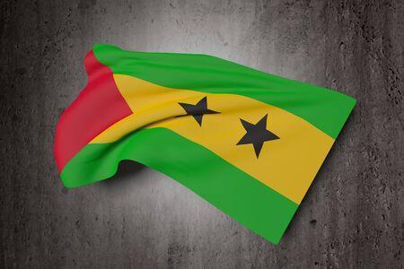 principe: Las 3D de la República Democrática de Santo Tomé y Príncipe bandera ondeando sobre un fondo sucio
