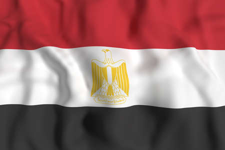 egypt flag: 3d rendering of Egypt flag waving