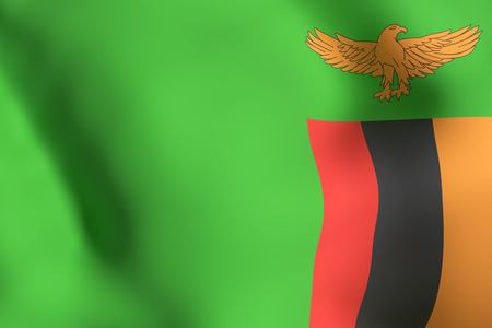 3d rendering of Republic of Zambia flag waving Stock Photo