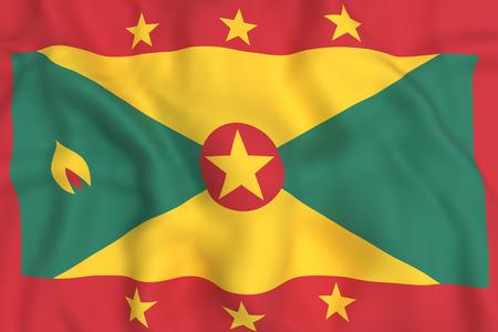 grenada: 3d rendering of Grenada flag waving