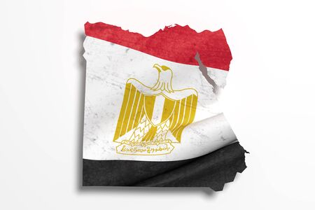 3d rendering of Egypt map and flag.