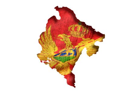 montenegro: 3d rendering of Montenegro map and flag on white background.