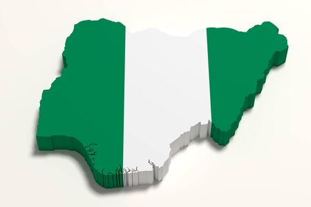national geographic: 3d rendering of Nigeria map and flag.
