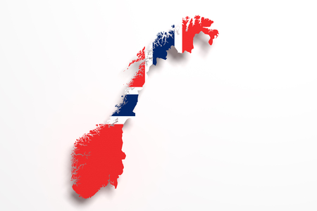 scandinavia: 3d rendering of Norway map and flag on white background.