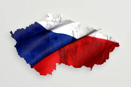 rep: 3d rendering of Czech Rep map and flag on white background.