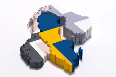 frontage: 3d rendering of Sweden map and flag Stock Photo
