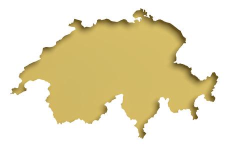 3D-weergave van een Zwitserland kaart op een witte achtergrond.