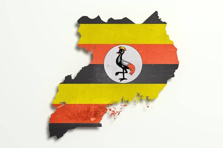3d rendering of Uganda map and flag on white background