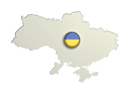 3d rendering of Ukraine boundaries and button with flag on white background. Stock Photo