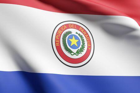 bandera de paraguay: Las 3D de la Rep�blica de la bandera de Paraguay ondeando