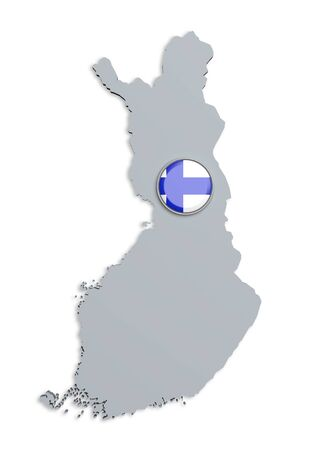 boundaries: 3d rendering of Finland boundaries and button with flag on white background. Stock Photo