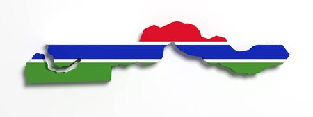 3d rendering of Gambia map and flag on white background