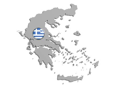 frontage: 3d rendering of Greece boundaries and button with flag on white background. Stock Photo