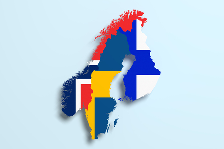 peninsula: 3d rendering of Scandinavian peninsula map and flags