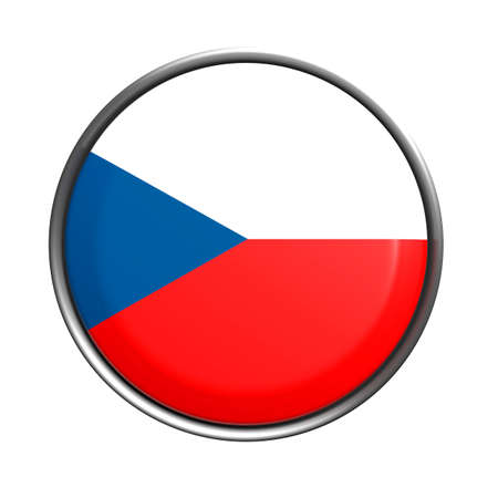 rep: 3d rendering of Czech Rep button on white background.