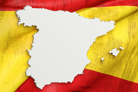 madrid: 3d rendering of Spain map and flag on background. Stock Photo