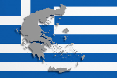 frontage: 3d rendering of Greece map and flag on background Stock Photo