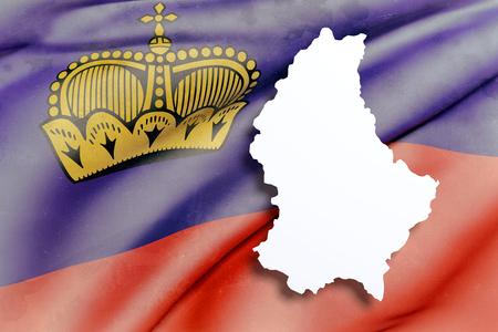liechtenstein: 3d rendering of Liechtenstein map and flag on background.