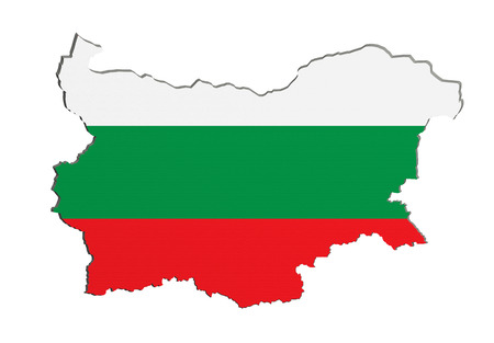 national geographic: 3d rendering of Bulgaria map and flag on white background.