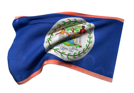 3d rendering of an old and dirty Belize flag waving on white background