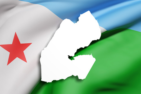 djibouti: 3d rendering of Djibouti map and flag on background