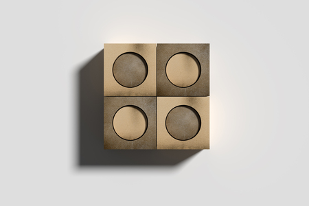 3d rendering of four golden box with carved circles on white isolated backdrop