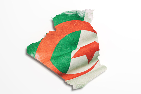 3d rendering of Algeria map and flag.