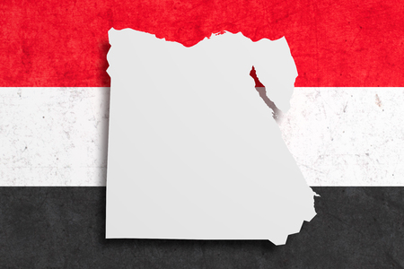 national geographic: 3d rendering of Egypt map and flag.