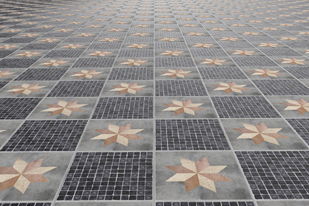 tiled: 3d rendering of tiled floor with ornaments Stock Photo