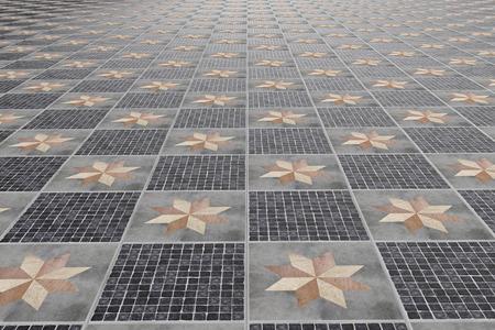 tiles floor: 3d rendering of tiled floor with ornaments Stock Photo