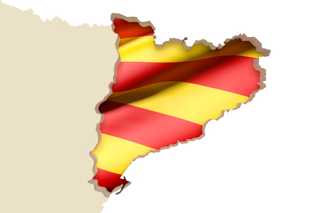 catalonia: 3d rendering of  map of Catalonia with Catalonia flag