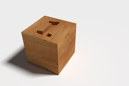 casting: 3D rendering of wooden box with carved number one casting shadow on white background
